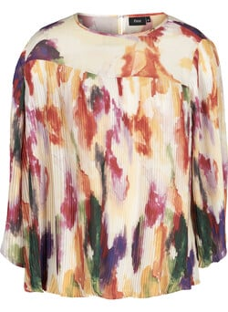 Plissé bluse med all-over print