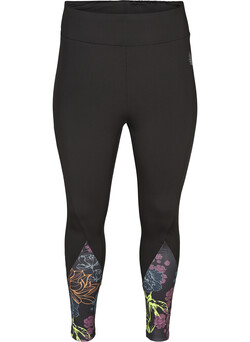 Cropped sports leggings with a floral print