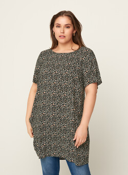 Short-sleeved viscose tunic