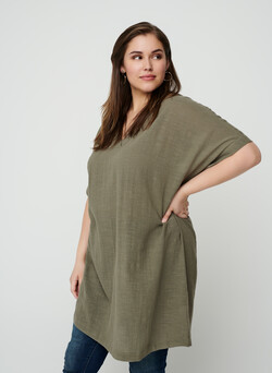 Short-sleeve cotton tunic
