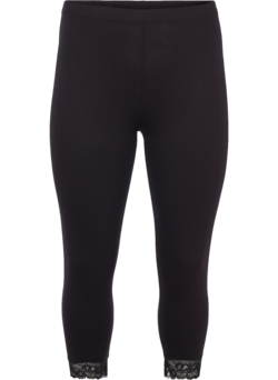 3/4 basis leggings med blondekant