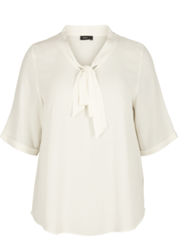 Viscose blouse met striksluiting