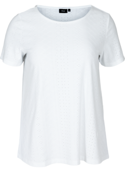 T-shirt med broderi anglaise