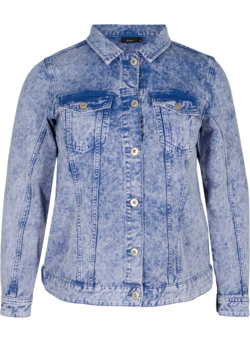 Acid washed denim jakke i bomuld