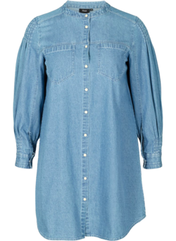 Lange denim blouse in katoen