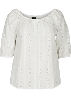 Bluse med broderi anglaise