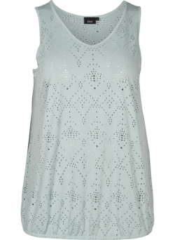 Top met broderie anglaise