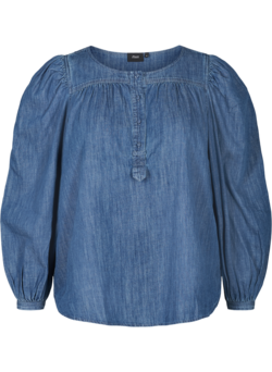 Denim top met pofmouwen