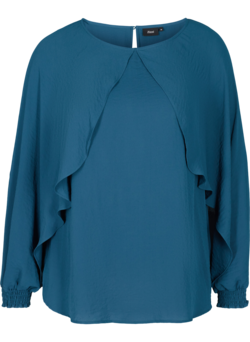Blouse with balloon sleeves and smocking