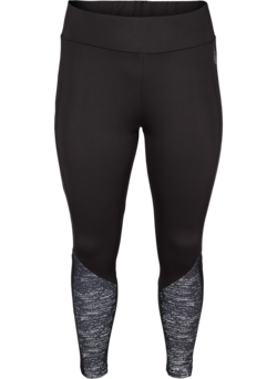 Cropped Trainingsleggings mit Print und Mesh