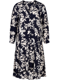 Printed viscose midi dress with A-line cut
