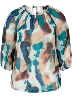Top met print, 3/4 mouwen en strik detail