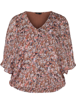 Viscose top met print en smokwerk
