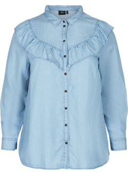 Lyocell denim blouse met ruches