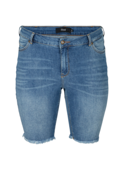 Slim Fit Denim-Shorts mit Fransensaum