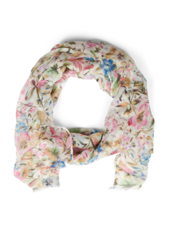 Floral scarf with fringe