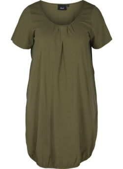 Short-sleeved dress in cotton